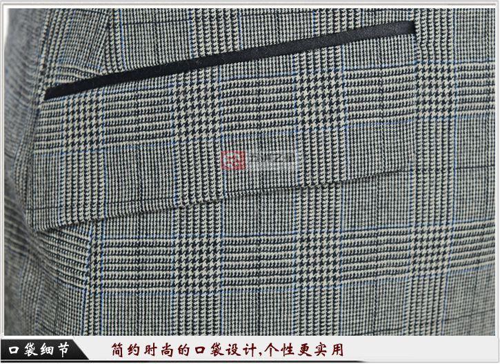 男士英伦风千鸟格职业装定制口袋细节展示