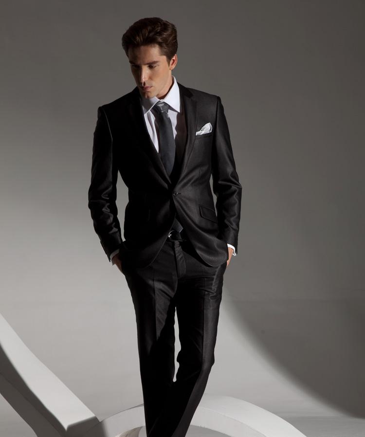 职场白领成熟型黑色西装定制图片
