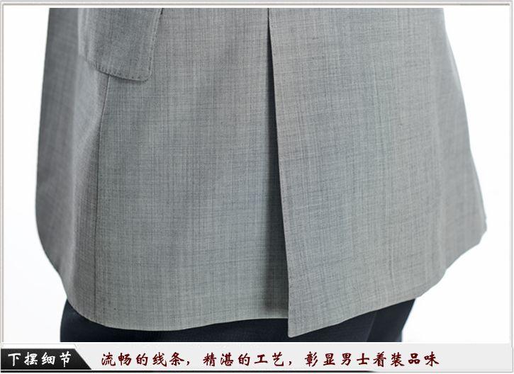 灰色平驳头一粒扣职业装定制-职业装下摆细节展示