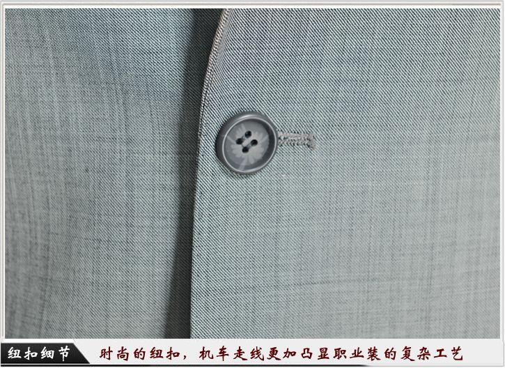 灰色平驳头一粒扣职业装定制-纽扣细节展示,经典的平驳头衣领
