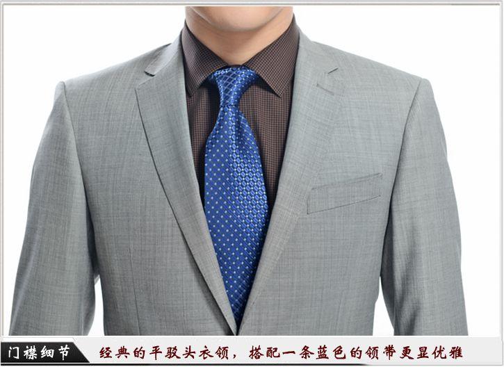 灰色平驳头一粒扣职业装定制-门襟细节展示,经典的平驳头衣领