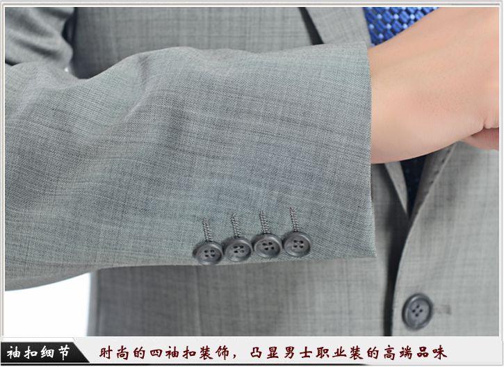 灰色平驳头一粒扣职业装定制-袖口细节展示,时尚的西袖扣装饰