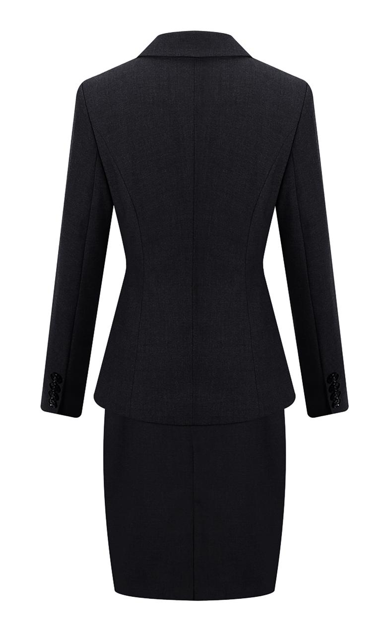 女士行政黑色职业装套装领型细节图展示  女士行政黑色职业装套装口袋细节图展示  女士行政黑色职业装套装背面图片